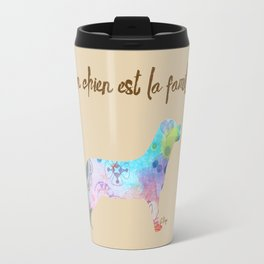 "mon chien est la famille (French for ""My dog is my family"") Travel Mug"