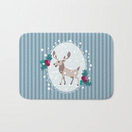 Merry Christmas - Moose and snow Bath Mat