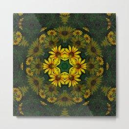 Large Yellow Wildflower Kaleidoscope Art 10 Metal Print