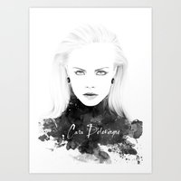 cara delevingne Art Prints featuring Cara Delevingne by Esther