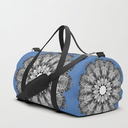 Abstract icy winter flower mandala Duffle Bag