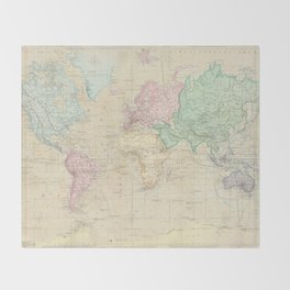 Old world throw blankets society6 vintage map of the world 1862 throw blanket gumiabroncs Gallery