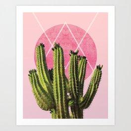 Cactus - Minimal Cactus Poster - Desert Wall Art - Tropical, Botanical - Pink, Green - Modern Art Print