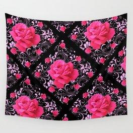 FUCHSIA PINK ROSE BLACK BROCADE GARDEN ART Wall Tapestry