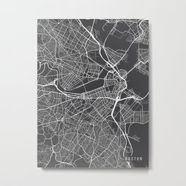 Boston Map, Massachusetts USA - Charcoal Portrait Metal Print