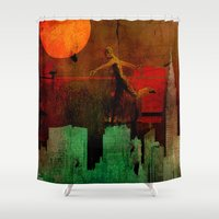 takmaj Shower Curtains featuring Jump on the green city by Ganech joe