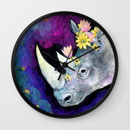 Flowers for Rhino Wall Clock