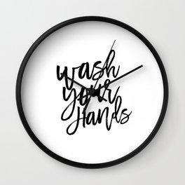Wash Your Hands,Kids Room Art,Nursery Decor,Bathroom Decor,Sign, Printable Art,Quote Prints Wall Clock