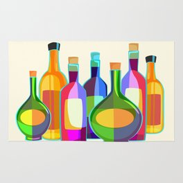 Colored Glass Bottles Rug
