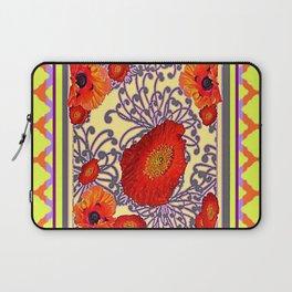Lemon Caramel Trellis Pattern Poppy Flowers Art Laptop Sleeve
