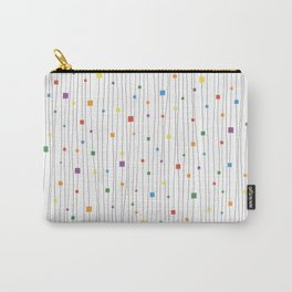 Squares and Vertical Stripes - Rainbow on White - Hanging Carry-All Pouch