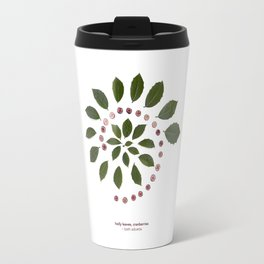 holly leaves, cranberries... nature mandala Travel Mug