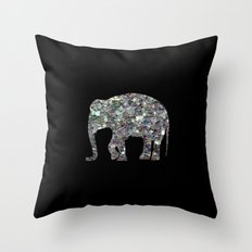 Sparkly colourful silver mosaic Elephant Throw Pillow