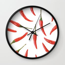 Red chili peppers. Wall Clock