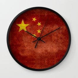 The National flag of the People's Republic of China in Vintage retro distressed texture form Wall Clock