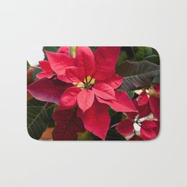 Red and Green Poinsettia Photography Print Bath Mat