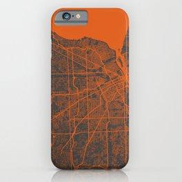 Detroit map orange iPhone Case