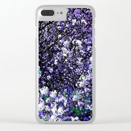 TREES PURPLE AND WHITE Clear iPhone Case