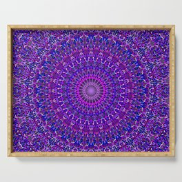 Lace Mandala in Purple and Blue Serving Tray