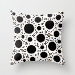 Polka Dot Chaos - White, Black and Gold Throw Pillow