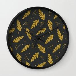 Golden Christmas Wall Clock