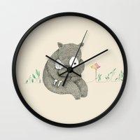 hug Wall Clocks featuring Hug by Maureen Poignonec