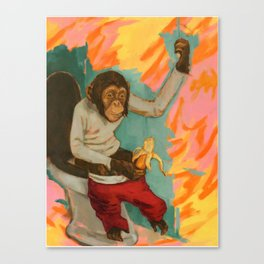 """Primitive Neurological Circuitry (Chimp on Toilet)"" Canvas Print"