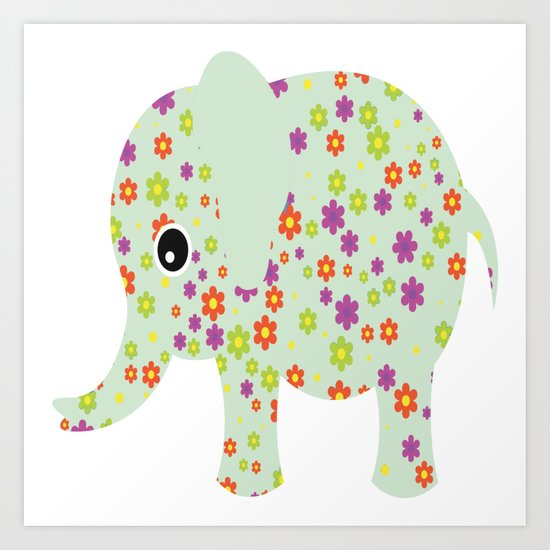 cute floral elephant by ashleyredmon