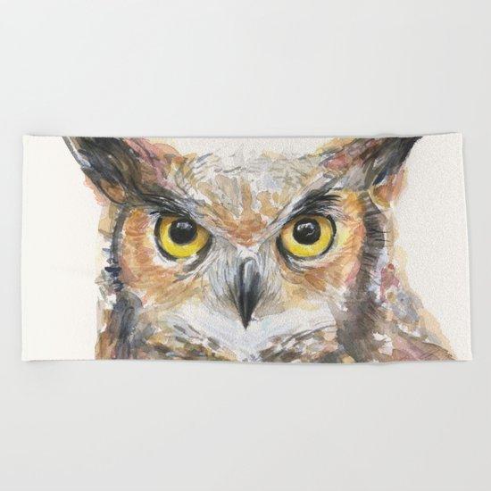 Owl Great Horned Bird Animals Beach Towel