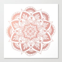 Flower Rose Gold Mandala Canvas Print