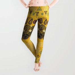 lotus block vintage gold Leggings