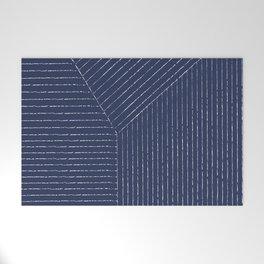 Lines / Navy Welcome Mat