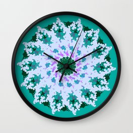 Spring Snowfall on a Pixelated Green Knit Sweater Wall Clock