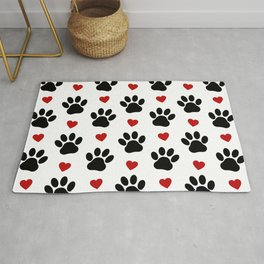 Dog Paws, Traces, Animal Paws, Hearts - Red Black Rug