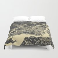 montreal Duvet Covers featuring Montreal Map by Map Map Maps