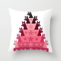 Crimson Groovy cake Throw Pillow