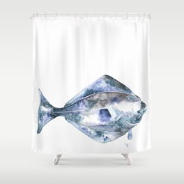 Flat Fish Watercolor Shower Curtain