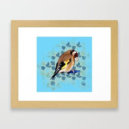 Goldfinch with blue leaf background. Framed Art Print