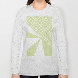 Geometric green white quatrefoil color block pattern Long Sleeve T-shirt