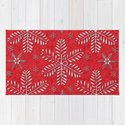 DP044-8 Silver snowflakes on red by duckyrubin