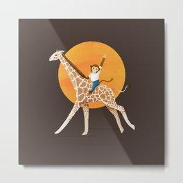 Giraffe and Monkey   Color Illustration   Brown Metal Print