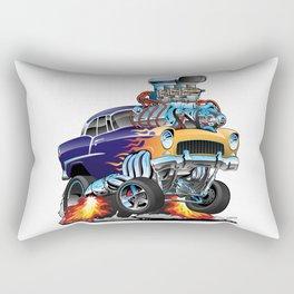 Classic Fifties Hot Rod Muscle Car Cartoon Rectangular Pillow