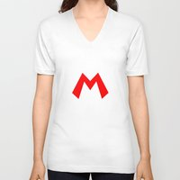 nintendo V-neck T-shirts featuring Nintendo Mario by JAGraphic