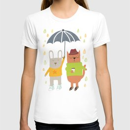 Hipster bunny and cat T-shirt