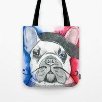frenchie Tote Bags featuring Frenchie by Irasema Langarica