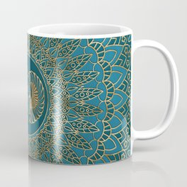 Egyptian Scarab Beetle Gold on Teal Leather Coffee Mug