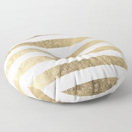 Elegant stylish trendy faux gold modern stripe Floor Pillow