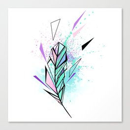 Polygonal Feather with Watercolor Canvas Print