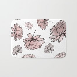 Hand Drawn Peonies Dusty Rose Bath Mat