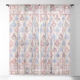 North Indian Dhurrie Kilim Print Sheer Curtain